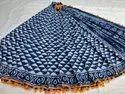 Casual Wear Dabu Indigo Hand Block Printed Cotton Saree, 6.3 M (with Blouse Piece)