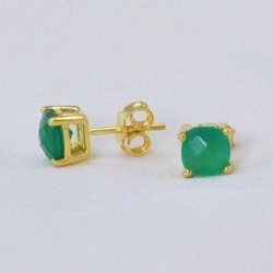 Green Onyx Beautiful Tiny Small Micron Gold Plated Sterling Silver Earstud