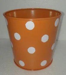 Round Orange Metal Planter, For Garden, Size: 6