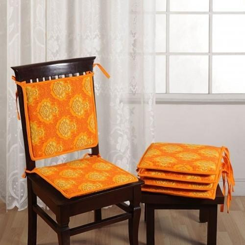 Orange Cotton Yellow Chair Pads