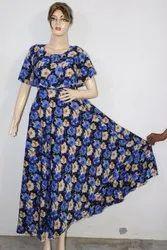 American Crepe Blue Floral Printed Maxi Dress