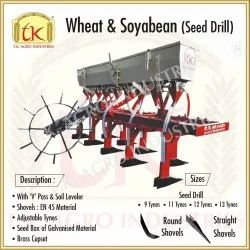With 'v' Pass And Soil Leveler Mild Steel Wheat & Soybean Seed Drill, for Agriculture
