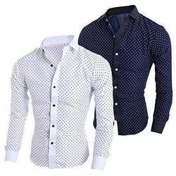 Cotton Slim Fit Men Dot Printed Shirt