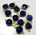 Set Of 6 Piece Blue Sapphire Heart Shape Briolette Bezel Connectors Size 10mm.