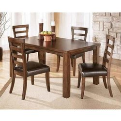 Tulsi Arts Brown 4 Chairs Wooden Dining Table Set