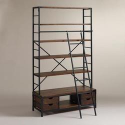 Mango Wood Brown,Black Industrial Bookshelf With Ladder