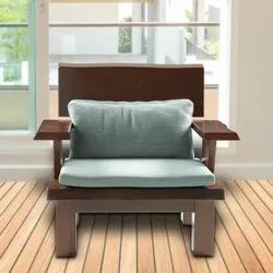Brown Rajtai Wooden Chair with Seat Pillow