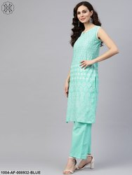 Nayo Sky Blue Sleeveless Printed Kurta Set