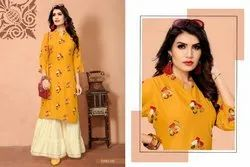 Rayon Casual Wear Sharara Suit, Wash Care: Dry clean