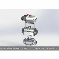 Actuator Positioner Operated 3 Piece Ball Valve SMS Union End