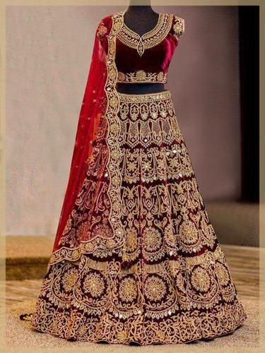cc7602e7e7416 Bridal Pure Velvet Designer Heavy Embroidered Lehenga Choli, Rs 4999 ...