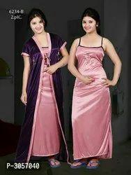 Western Wear Plain Comfy 2 In 1 Satin Night Dress Set, Machine wash