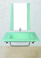 Sparkle Green Glass Wash Basin Set, For Bathroom