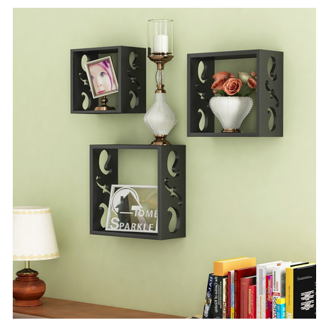 Home Sparkle Wall Shelf, Set Of 3 (Lacquer Finish, Black)
