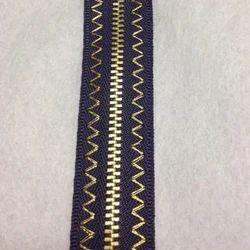 Golden Embroidered Brass Y Teeth Zipper