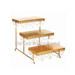3 Tier Square Shape Metal Cake Stand Gold Color