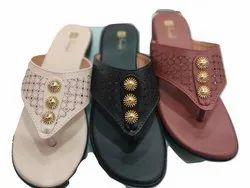 Ladies Hand Made Flat V Shape Leather Slipper Sizes 7-14