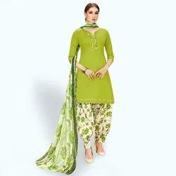 Unstitched Green Cotton Patiala Suit, Machine wash
