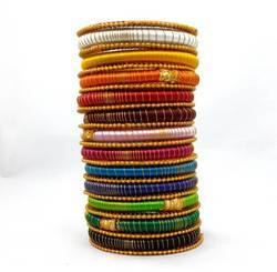 Multicolours silk thread bangles set