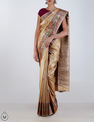 b1e21bf58f Silk Party Wear Hand Painted Madhubani Cream Pure Tussar Ghicha Sarees,  With Blouse Piece