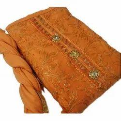 Chanderi Party wear Ladies Orange Designer Suit