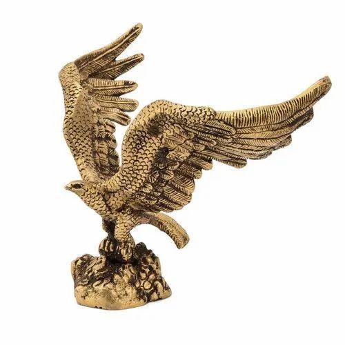 Golden Brass Eagle Statue for Interior Decor