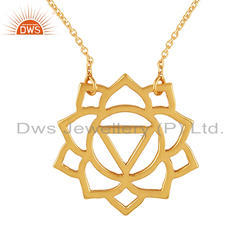 Gold Plated Silver Designer Manipura Chakra Pendant Chain Necklace