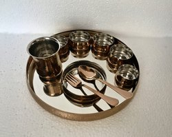 Rose Gold Maharaja Thali Set with Rice Bowl