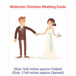 Bride & Groom (Inside Floral) White Multicolor Christian Wedding Cards, Size: 17X6 Inches Approx.