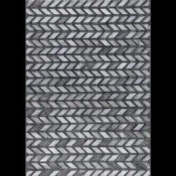 Geometric Rectangular Gamma Grey Green Handmade Leather Tufted Carpets and Rugs