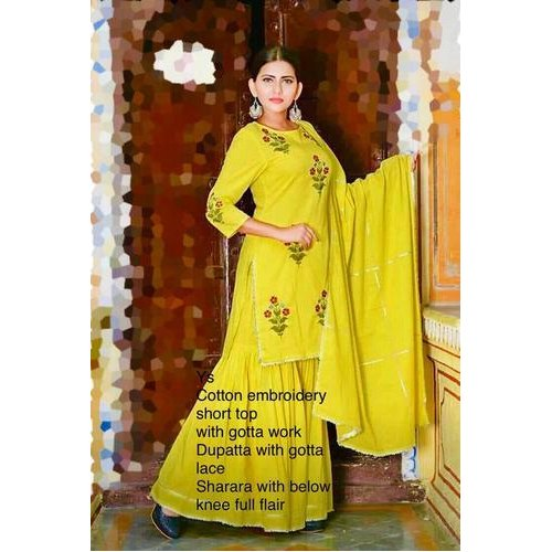 Rayon Stitch Kurti Plazo Set Embroidery Designer Garara With Cotton Designer Kurti Manufacturer From Jaipur,Machine Design Magazine
