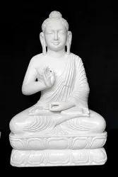 white Handmade Marble Buddha Idol