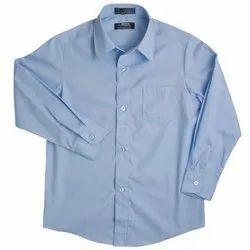 Collar Neck Plain Cotton College Shirt