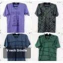 Mens Printed V Neck T Shirt