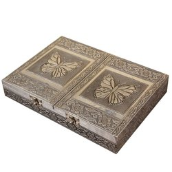 Butterfly Shape Wooden Jewellery Box Brown Colour