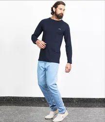 Besimple Men's Navy Blue Full Sleeve T-Shirt