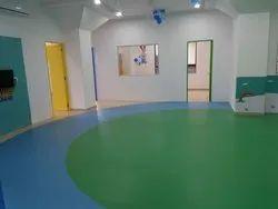 Green, Blue Indoor Vinyl Flooring for Playschool