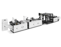 On Line Handle Automatic Non Woven Box Bag Making Machine