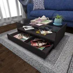 Brown Rectangular CJ Interio Wooden Designer Coffee Table, Size: 2.5 Feet(height)
