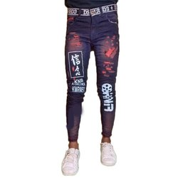 Party Wear Blue Mens Printed Comfort Fit Jeans, Waist Size: 28 to 34