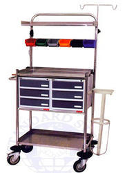 White Stainless Steel Emergency Medicine Trolley, Model Name/Number: SS156, Size: 1530