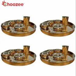 Choozee - Copper Thali Set of 4 (32 Pcs) Thali, Bowl, Spoon & Glass