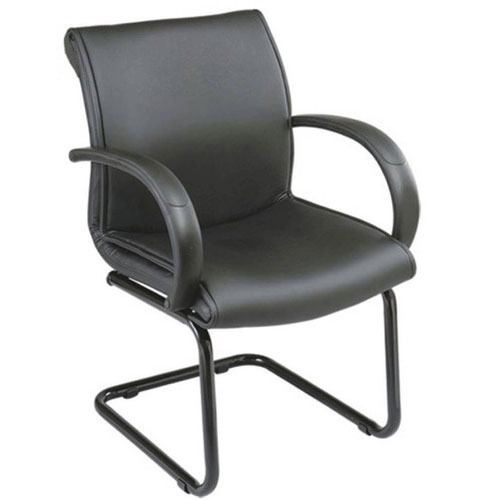 Black Genuine Leather Office Visitor Chairs