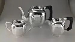 Silver Tea Set in Round Simple Sober Design