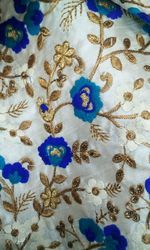 Flower With Gold Zari Embroidered Fabric