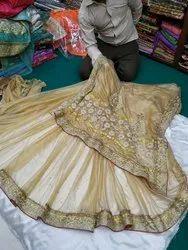 Embroidered Wedding Wear Handwork Silk Saree, 6.3 M (with Blouse Piece)