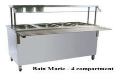 Stainless Steel Bain Marie 4 Compartment With Over Head Self and Front Side Reeling