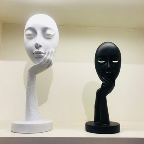 Fiber Color Coated White And Black Modern Human Sculpture, For Interior  Decor, Rs 5400 /set | ID: 21789565291