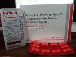Nimbit Cold & Flu( Nimesulide, Phenylephrine Cetirizine Dihydrochloride & Caffeine Tablet
