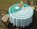 Cotton Peacock Printed Lace Work Round Table Cover